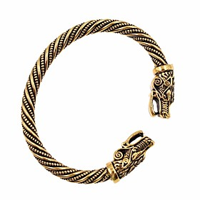 Men's Cuff Bracelet Twisted Snake Wolf Head Simple Trendy Fashion Alloy Bracelet Jewelry Gold / Black / Silver For Club