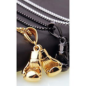 Men's Chain Necklace Charm Necklace Stylish Foxtail chain Boxing Gloves European Casual / Sporty Fashion Steel Stainless Black Gold Silver 45 cm Necklace Jewel