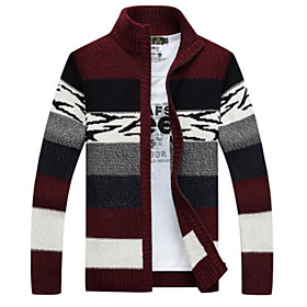 Men's Color Block Cardigan Long Sleeve Loose Regular Sweater Cardigans Stand Collar Blue Red Orange