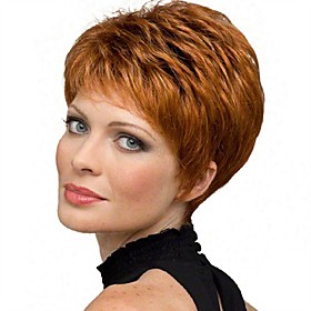 Synthetic Wig Straight Pixie Cut Wig Short Copper Brown Synthetic Hair 6 inch Women's Synthetic Red Gray
