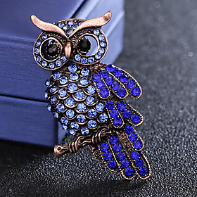 Men's Sapphire Cubic Zirconia Brooches Vintage Style Stylish Bird Luxury Fashion British Imitation Diamond Brooch Jewelry Blue For Daily Holiday