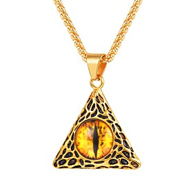 Men's Citrine Pendant Necklace Vintage Style franco chain Eyes Vintage Fashion scottish Stainless Steel Black Gold Silver 55 cm Necklace Jewelry 1pc For Gift D