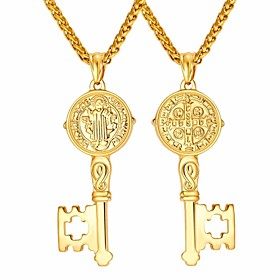 Men's Pendant Necklace Vintage Style Classic franco chain Keys Dangling Vintage Hip Hop Stainless Steel Black Gold Silver 55 cm Necklace Jewelry 1pc For Gift D