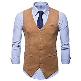 Men's V Neck Vest Regular Solid Colored Party Daily Business Basic Fall Winter Fantastic Beasts Sleeveless Black / Khaki / Navy Blue M / L / XL / Business Casu