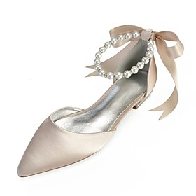 Women's Wedding Shoes Lace up Plus Size Flat Heel Pointed Toe Sweet Wedding Imitation Pearl Ribbon Tie Solid Colored Satin Summer White / Black / Purple / EU40