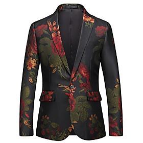 Men's Blazer Regular Floral Party Going out Active Streetwear Black M / L / XL