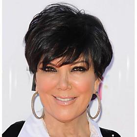 Synthetic Wig Wavy Kardashian Short Bob Wig Short Black#1B Synthetic Hair 6 inch Women's Women With Bangs Black