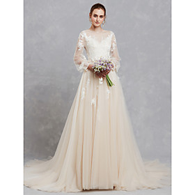 A-Line Wedding Dresses Bateau Neck Court Train Lace Tulle Long Sleeve Cutouts with Lace Appliques 2020 / Illusion Sleeve