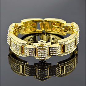 Men's Cubic Zirconia Tennis Bracelet Wide Bangle Stylish Link / Chain Crown Luxury European Hip-Hop Rhinestone Bracelet Jewelry Gold / Black / Silver For Gift