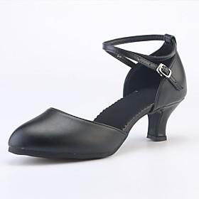 Women's Dance Shoes Latin Shoes / Ballroom Shoes / Line Dance Sandal Heel Sneaker Splicing Cuban Heel Customizable Black / Dark Red / Gold / Performance
