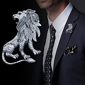Men's Brooches Vintage Style Stylish Lion Vintage Fashion British Brooch Jewelry Gold Silver For Daily Holiday