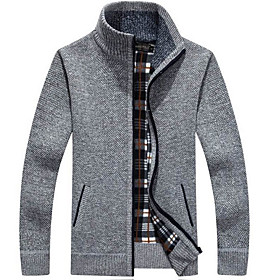Men's Basic Solid Colored Cardigan Long Sleeve Regular Sweater Cardigans Stand Collar Fall Black Blue Red