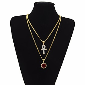 Men's AAA Cubic Zirconia Statement Necklace Long Necklace Cuban Link Thick Chain Cross Statement Trendy Rock egyptian Copper Alloy Black Dark Red Blue 51/61 cm