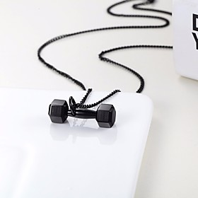 Men's Pendant Necklace Chain Necklace ID Twisted Dumbbell Stylish Dangling Trendy Titanium Steel Rose Gold Black Gold Silver 50 cm Necklace Jewelry 1pc For Gif