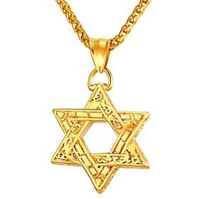 Men's Pendant Necklace Vintage Style Classic Star Star of David Pentagram Vintage scottish Stainless Steel Rose Gold Black Gold Silver 55 cm Necklace Jewelry 1