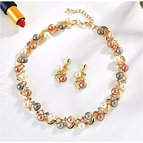 Women's Freshwater Pearl Hoop Earrings Vintage Necklace Vintage Style Retro Twisted Leaf Ladies Vintage Elegant fancy Earrings Jewelry Gold / Silver For Party
