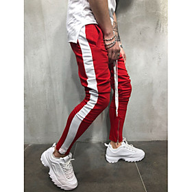 Men's Basic / Street chic Plus Size Daily Sports wfh Sweatpants Pants - Solid Colored Blue  White / Black  Red / Black  White, Patchwork Red Yellow Rainbow XL