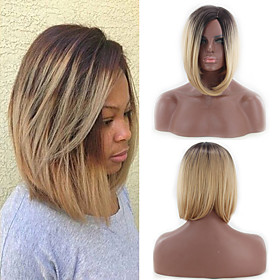 Synthetic Wig Straight Bob Wig Blonde Ombre Short Black / Gold Synthetic Hair 12INCH-14INCH Women's Adjustable Heat Resistant Classic Blonde Ombre