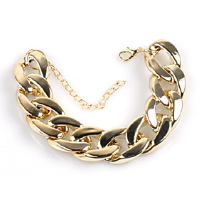 Men's Bracelet Cuban Link Thick Chain Creative Simple Trendy Hyperbole Alloy Bracelet Jewelry Gold For Street Bar
