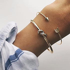 2pcs Women's Cuff Bracelet Stylish Love knot Arrow Knot Ladies Simple Classic Basic Alloy Bracelet Jewelry Gold For Daily Date