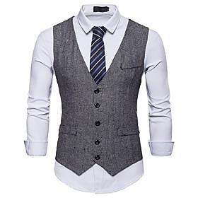 Men's V Neck Vest Short Polka Dot Party Work Basic Fantastic Beasts Short Sleeve Black / Khaki / Gray S / M / L / Business Casual / Slim