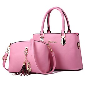 Women's Bags PU Leather Bag Set 2 Pieces Purse Set Zipper for Daily Wine / Black / Blushing Pink / Brown / Bag Sets