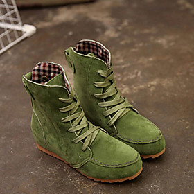 Women's Boots Fashion Boots Flat Heel Round Toe Suede Booties / Ankle Boots Fall  Winter Black / Green / Red