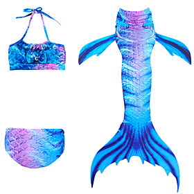 Kids Girls' Active Cute Mermaid Tail Color Block Sleeveless Swimwear Blue