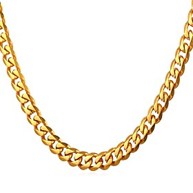 Men's Chain Necklace Link / Chain Trendy Rock Fashion Stainless Steel Gold Black Silver 55 cm Necklace Jewelry 1pc For Gift Daily