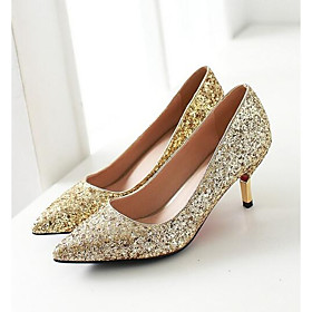 Women's Heels Glitter Crystal Sequined Jeweled Low Heel Denim Spring Gold / White / Silver / Daily