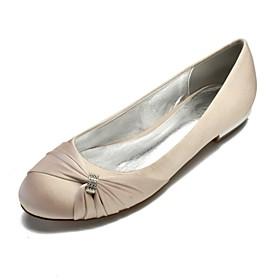 Women's Wedding Shoes Plus Size Flat Heel Round Toe Comfort Ballerina Wedding Party  Evening Rhinestone Side-Draped Solid Colored Satin White / Black / Purple