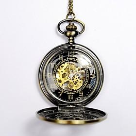 Men's Skeleton Watch Pocket Watch Automatic self-winding Skull Hollow Engraving Analog Gold / Steampunk