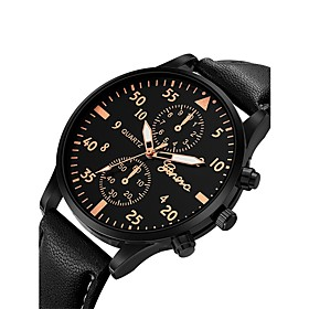 Men's Wrist Watch Aviation Watch Quartz Oversized Leather Black / Blue / Brown Chronograph Cute Casual Watch Analog Bangle Fashion Aristo - Silvery / White Ros