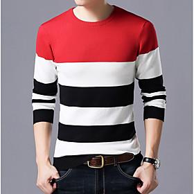 Men's Color Block Pullover Long Sleeve Slim Regular Sweater Cardigans Round Neck Red Navy Blue Gray