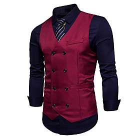 Men's V Neck Vest Regular Solid Colored Work Sleeveless White / Black / Wine S / M / L / Business Casual