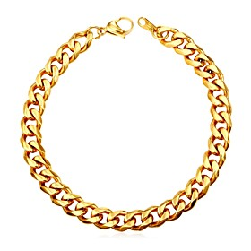 Men's Chain Bracelet Braided Twisted Wave Fashion Stainless Steel Bracelet Jewelry Black / Gold / Silver For Gift Daily