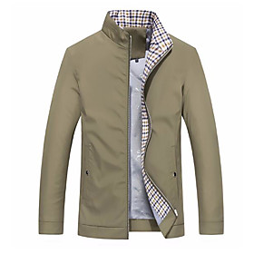 Men's Going out Spring   Fall Regular Jacket, Color Block Stand Long Sleeve Polyester Blue / Black / Khaki