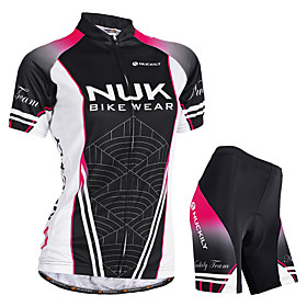 Nuckily Women's Short Sleeve Cycling Jersey with Shorts Black Gradient Bike Shorts Jersey Padded Shorts / Chamois Waterproof Breathable Ultraviolet R