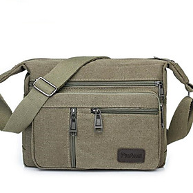 Men's Bags Canvas Shoulder Messenger Bag Zipper Solid Color for Daily / Outdoor Black / Army Green / Khaki / Brown