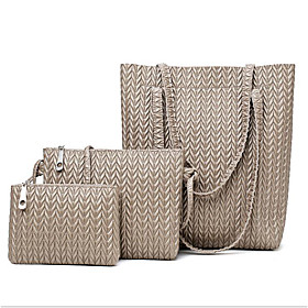Women's Bags PU Leather Bag Set 3 Pcs Purse Set Zipper for Daily Black / Blue / Khaki / Brown / Bag Sets