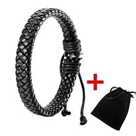 Men's Leather Bracelet Bracelet Stylish Braided Creative Stylish Simple Leather Bracelet Jewelry Black For Daily Going out