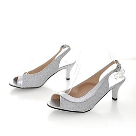 Women's Sandals Stiletto Heel PU Spring Black / Gold / Silver