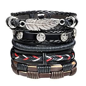 Men's Leather Bracelet Loom Bracelet Braided Rope Leaf Vintage Rock Hip-Hop Leather Bracelet Jewelry Black For Street Bar