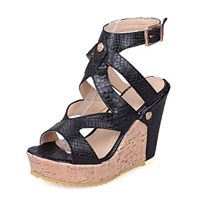 Women's Sandals Wedge Sandals Spring Wedge Heel Roman Shoes Daily PU White / Black
