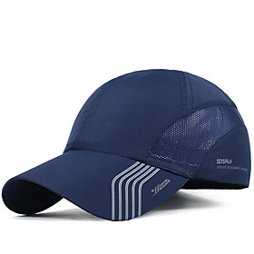 Men's Basic Polyester Baseball Cap-Striped Dark Gray Navy Blue Light gray