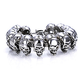 Men's Chain Bracelet Handmade Link Bracelet Vintage Style Skull Statement Trendy Initial Titanium Steel Bracelet Jewelry Silver For Night outSpecial occasion S