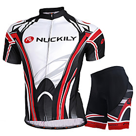 Men's Short Sleeve Cycling Jersey with Shorts Black with White Bike Shorts Jersey Clothing Suit Breathable Sweat-wicking Sports Mesh Mountain Bike MTB Road Bik