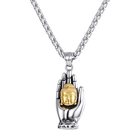 Men's Pendant Necklace Classic franco chain Hand Buddha Classic Vintage Stainless Steel Silver 55 cm Necklace Jewelry 1pc For Gift Daily