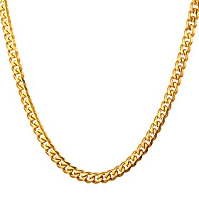 Men's Chain Necklace Cuban Fashion Stainless Steel Black Gold Silver 55 cm Necklace Jewelry 1pc For Gift Casual Street