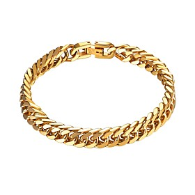 Men's Chain Bracelet Link / Chain Creative Fashion Stainless Steel Bracelet Jewelry Gold / Black / Silver For Gift Daily